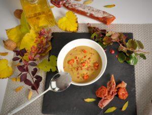 Crema de lentejas con chorizo