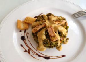 Pavo con salsa de miel y brócoli