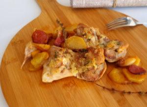 Contramuslos de pollo al ajillo con chorizo de La Abuela Julia